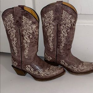 CORRAL YOUTH BROWN/ BONE EMBROIDERY COWGIRL BOOTS
